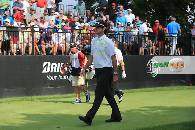 Bubba Watson (USA) walks off the 10th tee to start his match during Thursday's Round 1 of the 2013 Bridgestone Invitational WGC tournament held at the Firestone Country Club, Akron, Ohio. 1st August 2013.<br /> Picture: Eoin Clarke www.golffile.ie