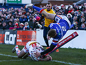 10th February 2019, Belle Vue, Wakefield, England; Betfred Super League rugby, Wakefield Trinity versus St Helens; Tom Johnstone of Wakefield Trinity scores a try in the corner to make the score 4-6