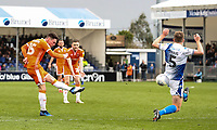 Blackpool's Jordan Thompson shoots at goal under pressure from Bristol Rovers' Tony Craig <br /> <br /> Photographer Andrew Kearns/CameraSport<br /> <br /> The EFL Sky Bet League Two - Bristol Rovers v Blackpool - Saturday 2nd March 2019 - Memorial Stadium - Bristol<br /> <br /> World Copyright © 2019 CameraSport. All rights reserved. 43 Linden Ave. Countesthorpe. Leicester. England. LE8 5PG - Tel: +44 (0) 116 277 4147 - admin@camerasport.com - www.camerasport.com