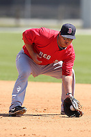 Boston Red Sox minor league player Miles Head #20 during a spring training game vs the Baltimore Orioles at the Buck O'Neil Complex in Sarasota, Florida;  March 22, 2011.  Photo By Mike Janes/Four Seam Images