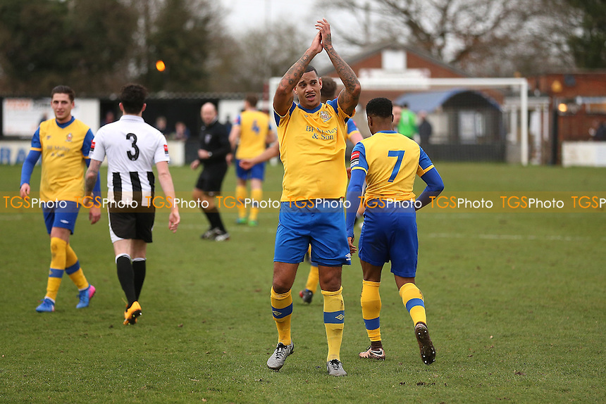 Leon McKenzie of Hornchurch thanks the fans after scoring his third goal during Heybridge Swifts vs AFC Hornchurch, Ryman League Division 1 North Football at The Texo Stadium, Scraley Road on 25th February 2017