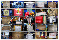"A combination photo shows signs asking not to take pictures at different pro-democracy protesters' encampments in Hong Kong November 1 and 2, 2014. While some protesters are happy to be interviewed and photographed, others are putting ""no photo"" signs asking not to be disturbed and for their faces not to be shown fearing possible reprisal from authorities who declared protesters' rallies illegal.    REUTERS/Damir Sagolj (CHINA)"