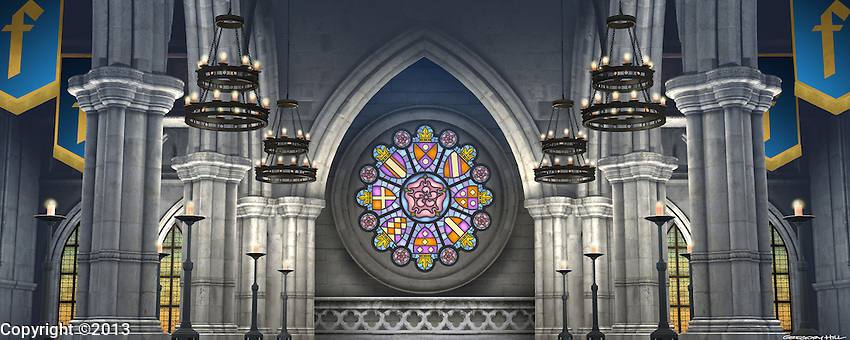 This is the interior of the cathedral in Castle Duloc. For Kenmark Scenic Backdrops, Inc.