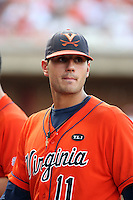 Kevin Arico of the Virginia Cavaliers playing in Game Two of the NCAA Super Regional tournament against the Oklahoma Sooners at Charlottesville, VA - 06/13/2010. Oklahoma defeated Virginia, 10-7, to tie the series after two games.  Photo By Bill Mitchell / Four Seam Images