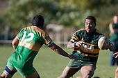 David Raikuna steps inside Drury 2nd five eight Tukimomo Taulanga. Counties Manukau Premier Club rugby game between Drury & Pukekohe played at the Drury Domain on Saturday May 23rd 2009..Pukekohe won the game 23 - 11 after laeding 16 - 11 at halftime.