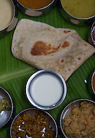 January 26th 2008 _Trivandrum, India _A typical meal served in the Ariya Nivaas vegetarian restaurant in town of Trivandrum.  Ariya Nivaas serves dishes, which are traditional to the Southern Indian state of Karala. Photograph by Daniel J. Groshong/Tayo Photo Group