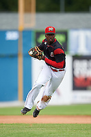 Batavia Muckdogs third baseman Javier Lopez (23) throws to first during a game against the West Virginia Black Bears on August 21, 2016 at Dwyer Stadium in Batavia, New York.  West Virginia defeated Batavia 6-5. (Mike Janes/Four Seam Images)