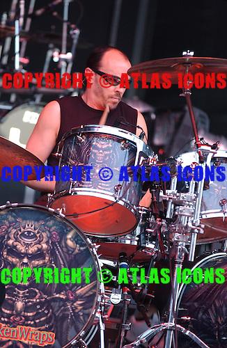 Queensryche; Scott Rockenfield; Live, In New York City, On 6-17-2005<br /> Photo Credit: Eddie Malluk/Atlas Icons.com