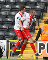 James Dunne of Stevenage celebrates (l) with Robin Shroot<br />  - Notts County v Stevenage - Sky Bet League One - Meadow Lane, Nottingham - 24th August 2013<br /> © Kevin Coleman 2013