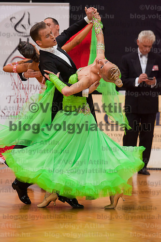 Oliver Zsom and Boglarka Vozar perform their dances during the Ballroom Hungarian Championships held in Budapest, Hungary. Saturday, 05. February 2011. ATTILA VOLGYI.