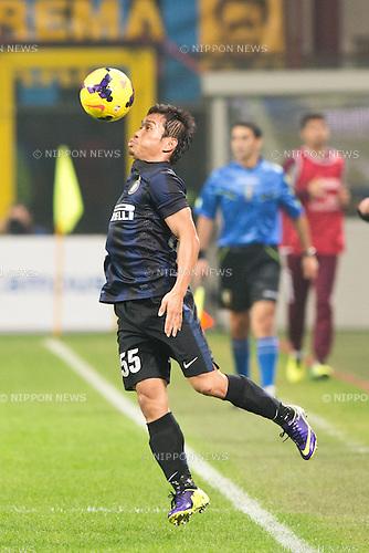 """Yuto Nagatomo (Inter), NOVEMBER 9, 2013 - Football / Soccer : Italian """"Serie A"""" match between Inter Milano 2-0 AS Livorno Calcio at San Siro Stadium in Milan, Italy. (Photo by Enrico Calderoni/AFLO SPORT)"""