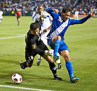 CARSON, CA – June 6, 2011: Honduras goalie Noel Valladares (18) and Guatemala forward Carlos Ruiz (20) battle for the ball during the match between Guatemala and Honduras at the Home Depot Center in Carson, California. Final score Guatemala 0, Honduras 0.