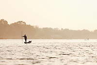 A small fishing boat on the Niger River at Segou, Mali