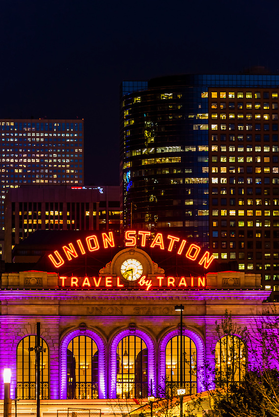 Denver Union Station and buildings in Downtown Denver, Colorado USA.