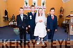 Pupils from Scoil Dhún Chaoin Dara Mac an tSíthig, Ben Ó Conchúir, Róisín Ní Ógain and Sean Ó Mainín the day of their First Communion in Dún Chaoin on Saturday.
