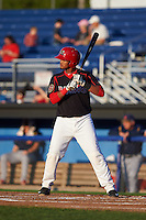 Batavia Muckdogs first baseman Erwin Almonte (25) at bat aduring a game against the State College Spikes August 22, 2015 at Dwyer Stadium in Batavia, New York.  State College defeated Batavia 5-3.  (Mike Janes/Four Seam Images)