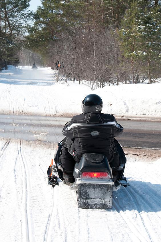 Snowmobiling in Michigan's Upper Peninsula.
