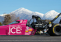 Feb 11, 2019; Pomona, CA, USA; NHRA top fuel driver Leah Pritchett during the Winternationals at Auto Club Raceway at Pomona. Mandatory Credit: Mark J. Rebilas-USA TODAY Sports