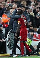 2nd January 2020; Anfield, Liverpool, Merseyside, England; English Premier League Football, Liverpool versus Sheffield United; Liverpool manager Jurgen Klopp hugs Sadio Mane of Liverpool as he is substituted late in the second half  - Strictly Editorial Use Only. No use with unauthorized audio, video, data, fixture lists, club/league logos or 'live' services. Online in-match use limited to 120 images, no video emulation. No use in betting, games or single club/league/player publications