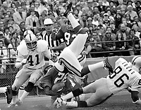 Oakland Raiders Phil Villapiano and Gerald Irons upend <br />