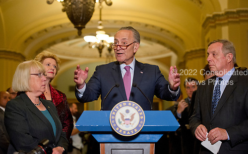 United States Senate Minority Leader Chuck Schumer (Democrat of New York) speaks to reporters following the Democratic Party luncheon in the United States Capitol in Washington, DC on Tuesday, June 27, 2017.  From left to right: US Senator Patty Murray (Democrat of Washington), US Senator Debbie Stabenow (Democrat of Michigan), Leader Schumer and US Senate Minority Whip Dick Durbin (Democrat of Illinois).<br /> Credit: Ron Sachs / CNP