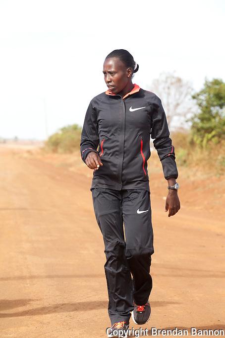 Marathon runner Florence Kiplagat. Near Eldoret, Kenya.