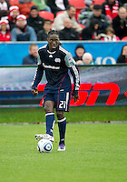 22 October 2011: New England Revolution midfielder Shalrie Joseph #21 in action during a game between the New England Revolution and Toronto FC at BMO Field in Toronto..The game ended in a 2-2 draw.