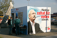Campaign booth for the CHP political party leading up to the 2011 Turkish general election in Bostanci, Istanbul, Turkey
