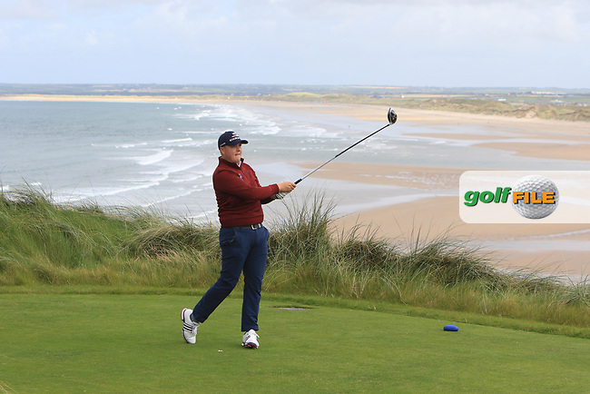Dean McMahon (Castletroy) on the 18th tee during the Munster Semi-Finals of the AIG Barton Shield at Tralee Golf Club, Tralee, Co Kerry. 12/08/2017<br /> Picture: Golffile | Thos Caffrey<br /> <br /> <br /> All photo usage must carry mandatory copyright credit     (&copy; Golffile | Thos Caffrey)