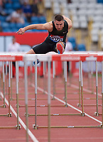Andrew Pozzi of Great Britain competing in the Mens 100m Hurdles during the Muller Grand Prix  IAAF Diamond League meeting at Alexander Stadium, Perry Barr, Birmingham.<br /> Picture by Alan Stanford +44 7915 056117<br /> 18/08/2018