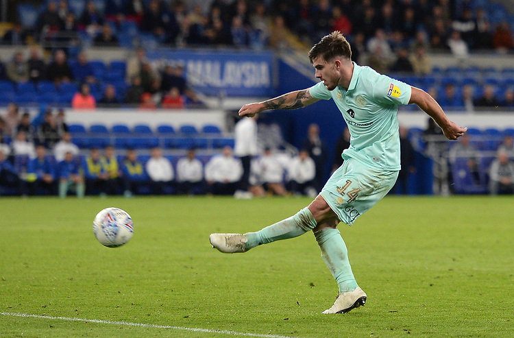 Queens Park Rangers' Ryan Manning has a shot at goal <br /> <br /> Photographer Ian Cook/CameraSport<br /> <br /> The EFL Sky Bet Championship - Cardiff City v Queens Park Rangers - Wednesday 2nd October 2019  - Cardiff City Stadium - Cardiff<br /> <br /> World Copyright © 2019 CameraSport. All rights reserved. 43 Linden Ave. Countesthorpe. Leicester. England. LE8 5PG - Tel: +44 (0) 116 277 4147 - admin@camerasport.com - www.camerasport.com