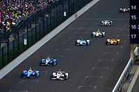 Verizon IndyCar Series<br /> Indianapolis 500 Race<br /> Indianapolis Motor Speedway, Indianapolis, IN USA<br /> Sunday 28 May 2017<br /> Scott Dixon, Chip Ganassi Racing Teams Honda, JR Hildebrand, Ed Carpenter Racing Chevrolet, Takuma Sato, Andretti Autosport Honda, Jay Howard, Schmidt Peterson Motorsports Honda, Ryan Hunter-Reay, Andretti Autosport Honda, Ed Jones, Dale Coyne Racing Honda, Will Power, Team Penske Chevrolet<br /> World Copyright: F. Peirce Williams<br /> LAT Images