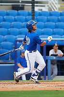 Dunedin Blue Jays designated hitter Bo Bichette (10) flies out to right in the bottom of the first inning during a game against the Bradenton Marauders on July 17, 2017 at Florida Auto Exchange Stadium in Dunedin, Florida.  Bradenton defeated Dunedin 7-5.  (Mike Janes/Four Seam Images)