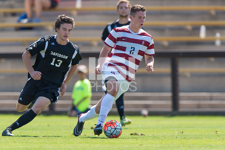 Stanford, CA - September 20, 2015: Foster Langsdorf during the Stanford vs Davidson men's soccer match in Stanford, California.  The Cardinal defeated the Wildcats 1-0 in overtime.
