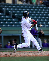 Third baseman Devin Wenzel (8) of the Cincinnati Bearcats in a game against the Western Carolina Catamounts on Sunday, February 24, 2013, at Fluor Field in Greenville, South Carolina. Cincinnati won in 10 innings, 7-6. (Tom Priddy/Four Seam Images)