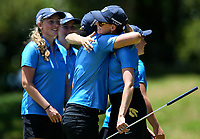 Grace Senior of Bay of Plenty celebrates. Day One of the Toro Interprovincial Women's Championship, Sherwood Golf Club, Whangarei,  New Zealand. Thursday 7 December 2017. Photo: Simon Watts/www.bwmedia.co.nz