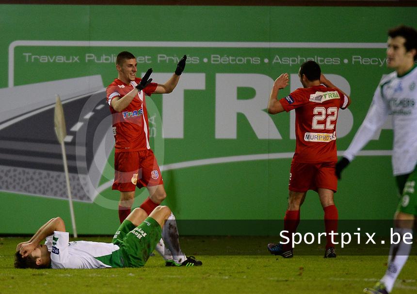 Moeskroen Peruwelz - KFC Dessel Sport : vreugde bij Dimitri Mohamed (links) en Seid Khiter (22) na de 2-0<br /> foto VDB / Bart Vandenbroucke