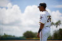 GCL Pirates John Lantigua (26) during a game against the GCL Tigers West on August 13, 2018 at Pirate City Complex in Bradenton, Florida.  GCL Tigers West defeated GCL Pirates 5-1.  (Mike Janes/Four Seam Images)