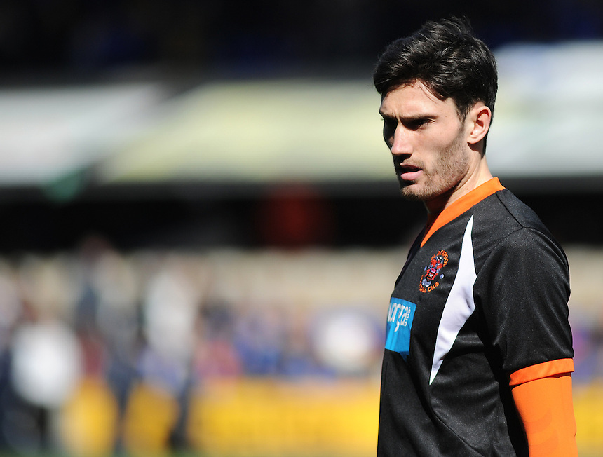 Blackpool's Connor Oliver during the pre-match warm-up <br /> <br /> Photographer Kevin Barnes/CameraSport<br /> <br /> Football - The Football League Sky Bet Championship - Ipswich Town v  Blackpool - Saturday 11th April 2015 - Portman Road - Ipswich<br /> <br /> &copy; CameraSport - 43 Linden Ave. Countesthorpe. Leicester. England. LE8 5PG - Tel: +44 (0) 116 277 4147 - admin@camerasport.com - www.camerasport.com