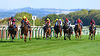 Winner of The Mercedes-Benz of Salisbury Handicap (For Lady Amateur Riders)  Relight my Fire (yellow cap) ridden by Emily Easterby and trained by Tim Easterby make a move at the furlong marker during Twilight Racing at Salisbury Racecourse on 14th September 2018