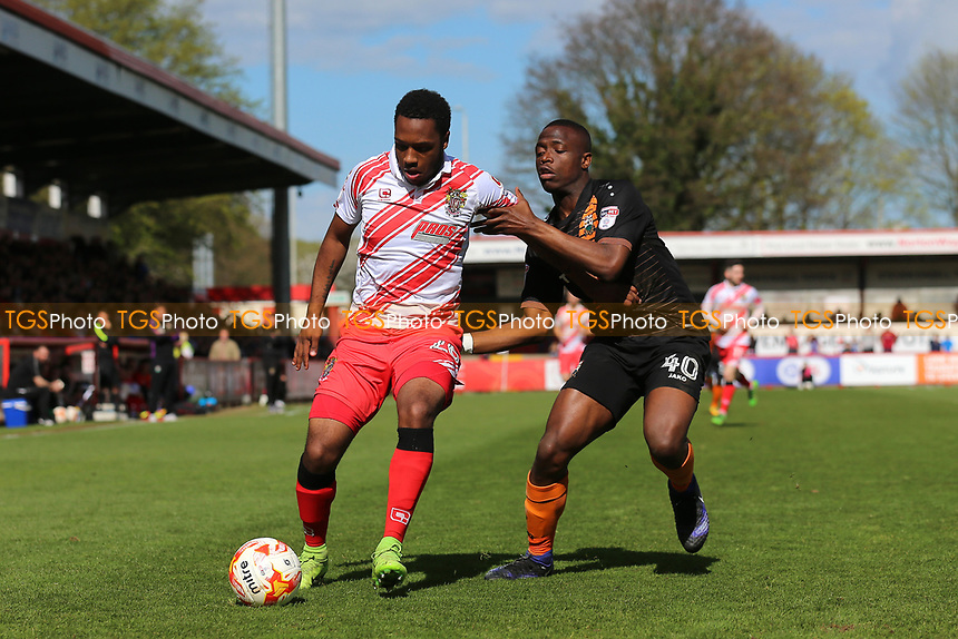 Kaylen Hinds of Stevenage and David Tutonda of Barnet during Stevenage vs Barnet, Sky Bet EFL League 2 Football at the Lamex Stadium on 1st April 2017