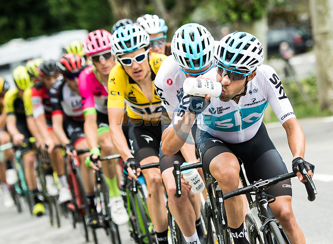 The group of main contenders with Jonathan Castroviejo (ESP) Team Sky on the front during Stage 6 of the 2018 Criterium du Dauphine 2018 running 110km from Frontenex to La Rosiere, France. 9th June 2018.<br /> Picture: ASO/Alex Broadway   Cyclefile<br /> <br /> <br /> All photos usage must carry mandatory copyright credit (© Cyclefile   ASO/Alex Broadway)