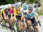 The group of main contenders with Jonathan Castroviejo (ESP) Team Sky on the front during Stage 6 of the 2018 Criterium du Dauphine 2018 running 110km from Frontenex to La Rosiere, France. 9th June 2018.<br /> Picture: ASO/Alex Broadway | Cyclefile<br /> <br /> <br /> All photos usage must carry mandatory copyright credit (&copy; Cyclefile | ASO/Alex Broadway)