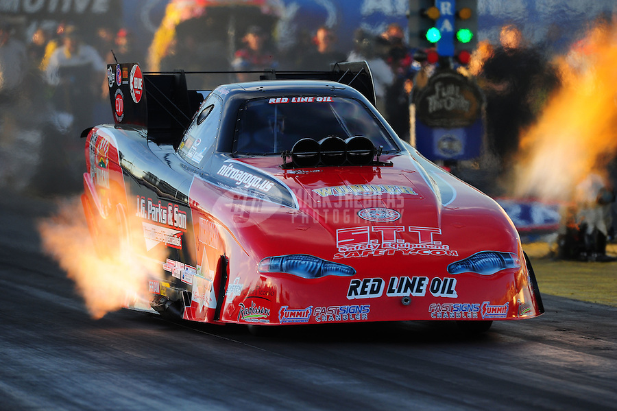 Oct. 14, 2011; Chandler, AZ, USA; NHRA funny car driver Jeff Diehl during qualifying at the Arizona Nationals at Firebird International Raceway. Mandatory Credit: Mark J. Rebilas-