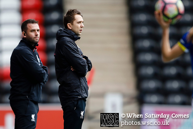 Liverpool Ladies 2 Everton Ladies 1, 19/03/2017. Select Security Stadium, SSE FA Cup Fifth Round. Liverpool's Head coach Scott Rogers watches  the game between Liverpool Ladies v Everton Ladies at The Select Security Stadium, Widnes, in the Women's SSE FA Cup Fifth Round. Photo by Paul Thompson.