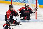 (L-R) Satoru Sudo, Shinobu Fukushima (JPN), <br /> MARCH 13, 2018 - Para Ice Hockey : <br /> Qualification round between Czech Republic 3-0 Japan <br /> at Gangneung Hockey Centre during the PyeongChang 2018 Paralympics Winter Games in Pyeongchang, South Korea. <br /> (Photo by Yusuke Nakanishi/AFLO)