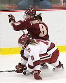Allie Thunstrom (BC - 9), Cori Bassett (Harvard - 18) - The Harvard University Crimson defeated the Boston College Eagles 5-0 in their Beanpot semi-final game on Tuesday, February 2, 2010 at the Bright Hockey Center in Cambridge, Massachusetts.