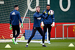 David De Gea of Manchester United warms up with Sergio Romero and Joel Pereira during the Manchester United open training session at the Carrington Training Centre, Manchester. Picture date: May 19th 2017. <br /> Pic credit should read: Matt McNulty/Sportimage