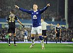Ross Barkley of Everton celebrates after Everton's equaliser<br /> - Barclays Premier League - Everton vs Leicester City - Goodison Park - Liverpool - England - 19th December 2015 - Pic Robin Parker/Sportimage
