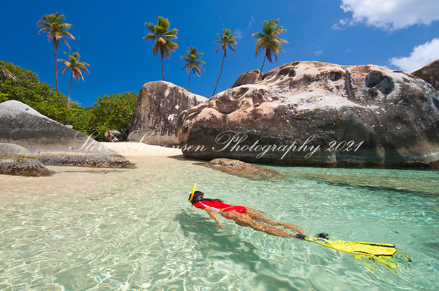 JeTaime Cerge snorkeling at The Baths<br /> Virgin Gorda<br /> British Virgin Islands